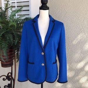 Talbots Aberdeen Bright Blue/Navy Blazer Size 14
